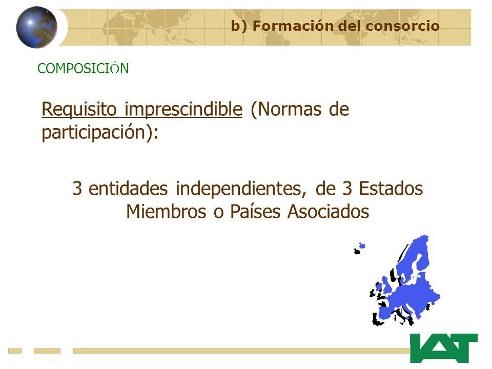 3 entidades independientes, de 3 Estados Miembros o Países Asociados