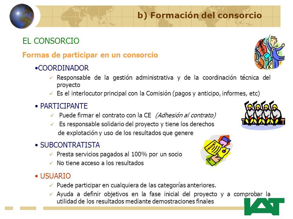 b) Formación del consorcio