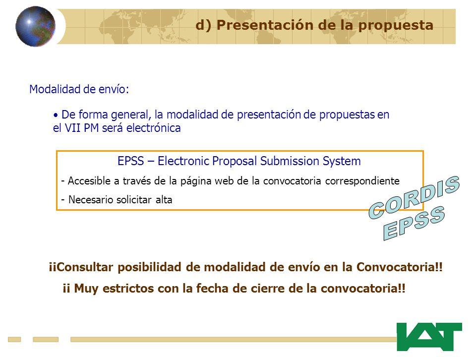 CORDIS EPSS d) Presentación de la propuesta