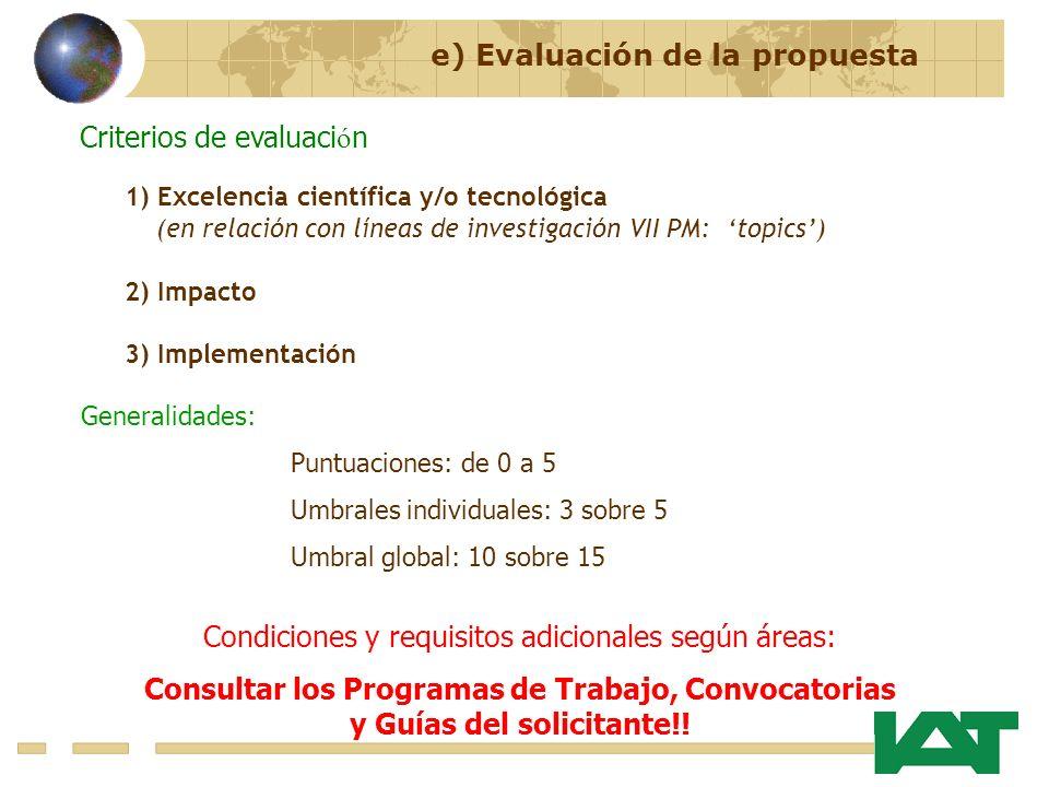 Condiciones y requisitos adicionales según áreas: