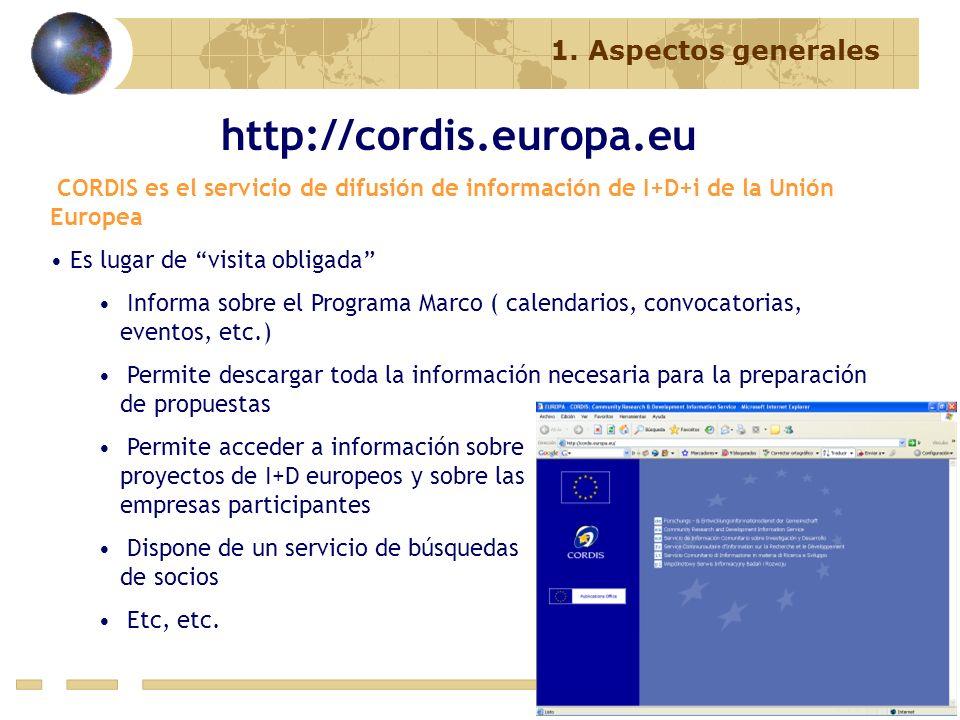 http://cordis.europa.eu 1. Aspectos generales
