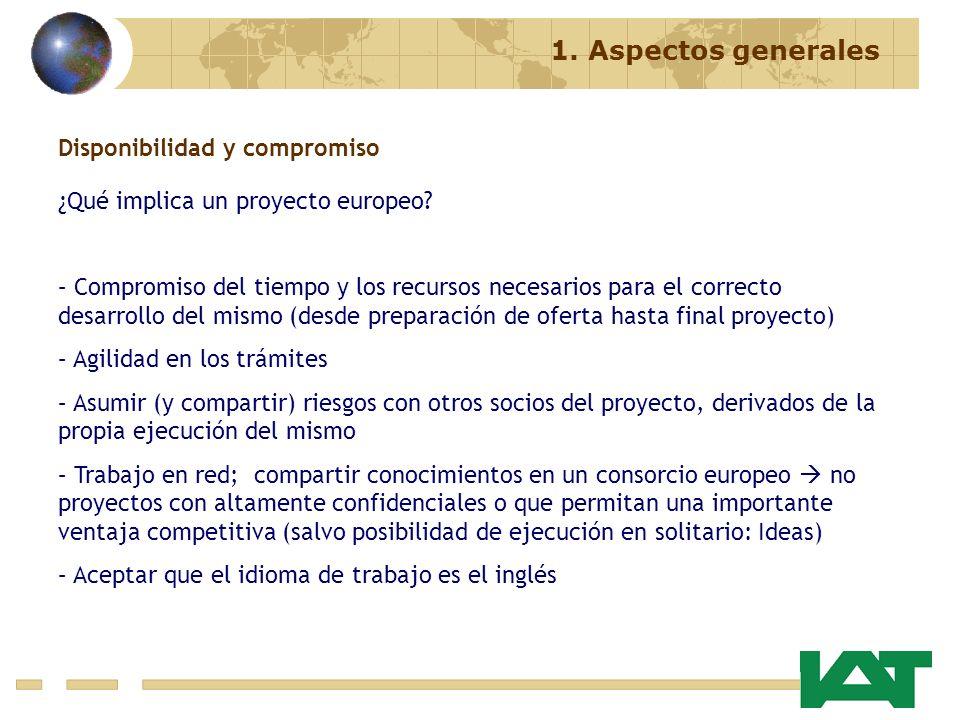 1. Aspectos generales Disponibilidad y compromiso