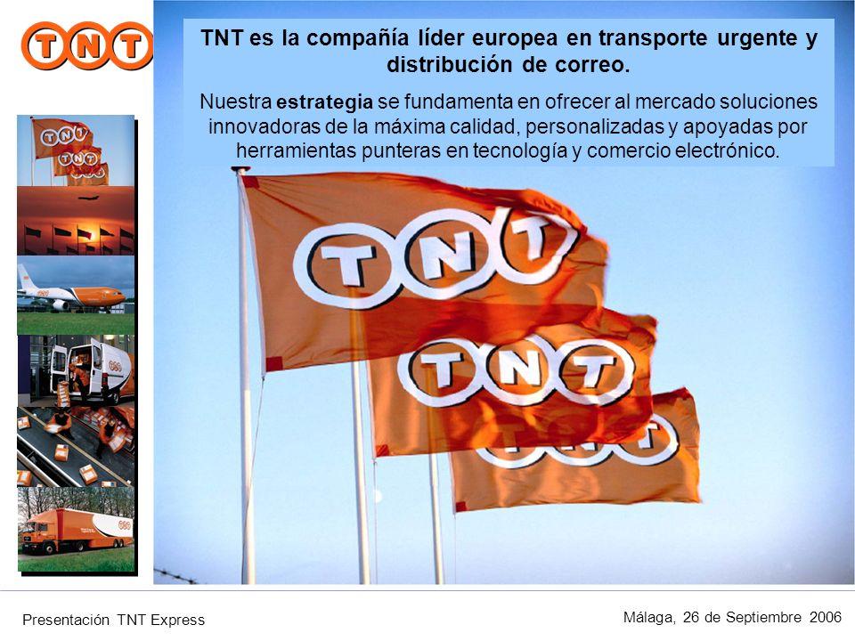 TNT es la compañía líder europea en transporte urgente y distribución de correo.