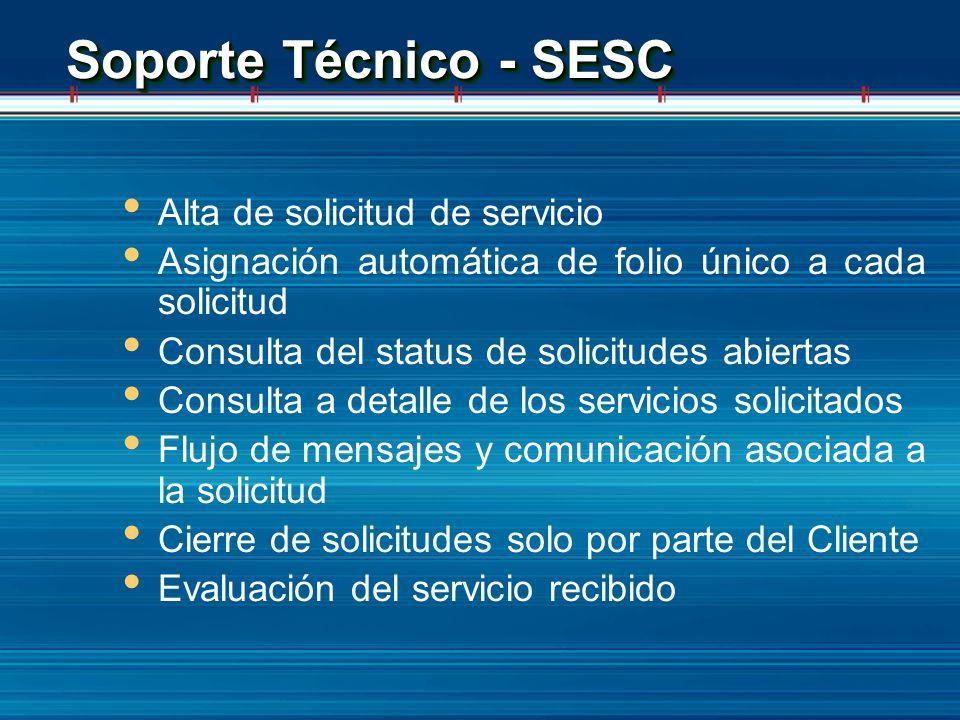 Soporte Técnico - SESC Alta de solicitud de servicio