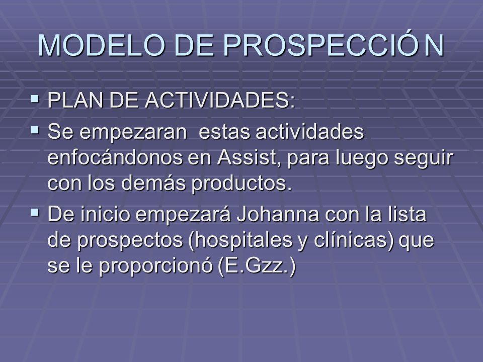 MODELO DE PROSPECCIÓ N PLAN DE ACTIVIDADES: