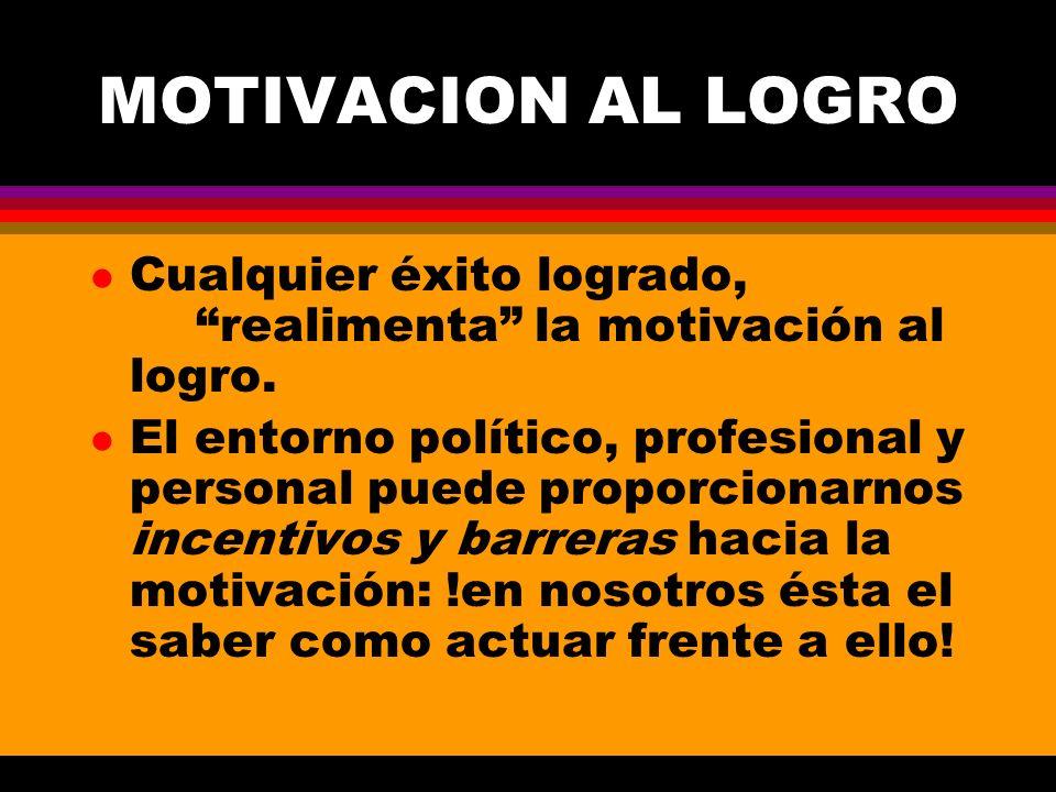 MOTIVACION AL LOGRO Cualquier éxito logrado, realimenta la motivación al logro.
