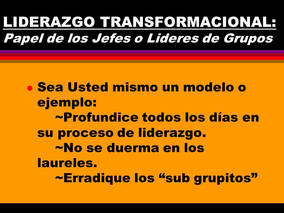 LIDERAZGO TRANSFORMACIONAL: Papel de los Jefes o Lideres de Grupos