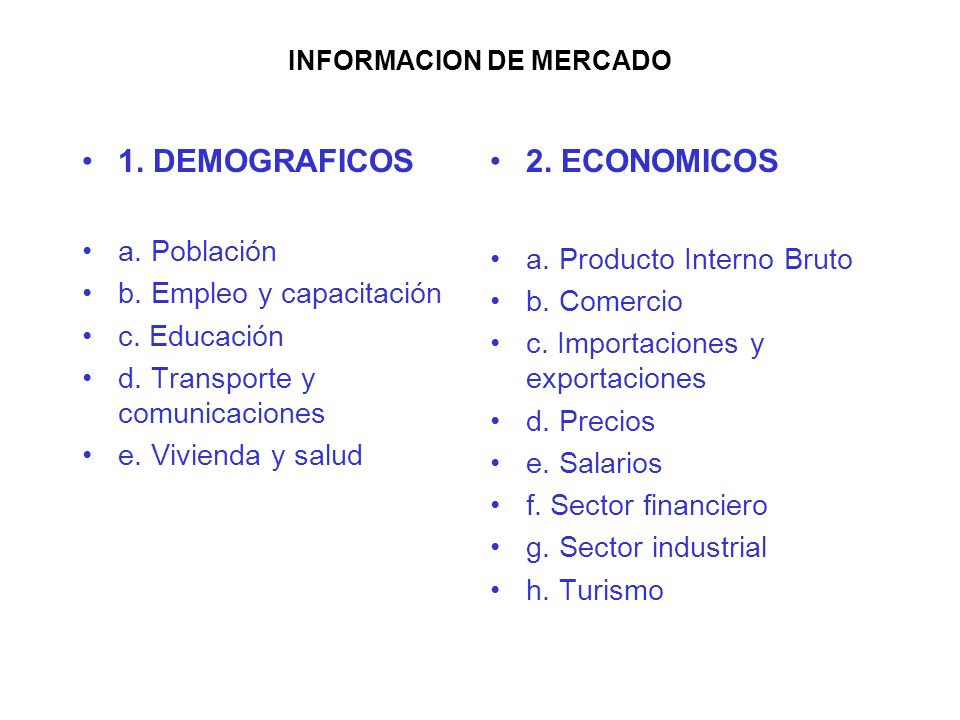 INFORMACION DE MERCADO