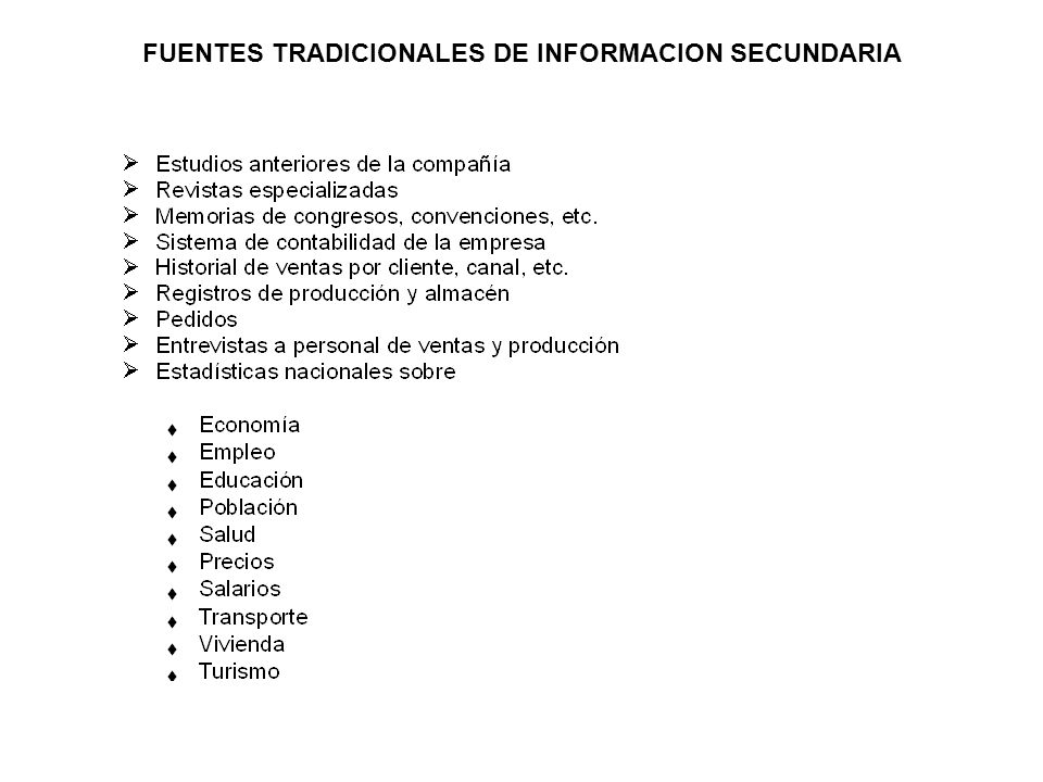 FUENTES TRADICIONALES DE INFORMACION SECUNDARIA