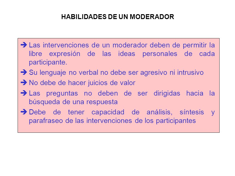 HABILIDADES DE UN MODERADOR