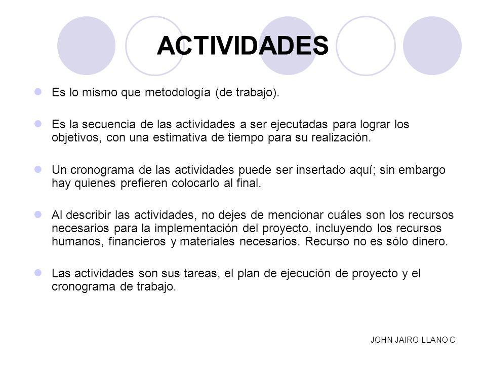 ACTIVIDADES Es lo mismo que metodología (de trabajo).