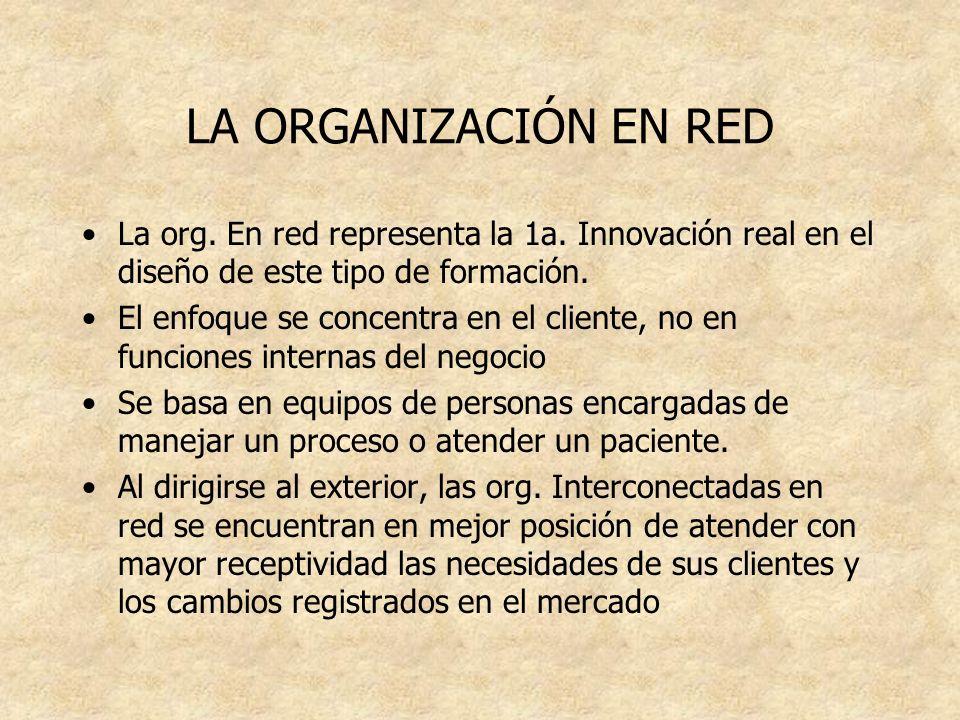 LA ORGANIZACIÓN EN RED La org. En red representa la 1a. Innovación real en el diseño de este tipo de formación.