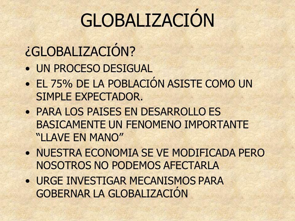GLOBALIZACIÓN ¿GLOBALIZACIÓN UN PROCESO DESIGUAL