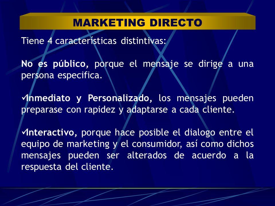 MARKETING DIRECTO Tiene 4 características distintivas: