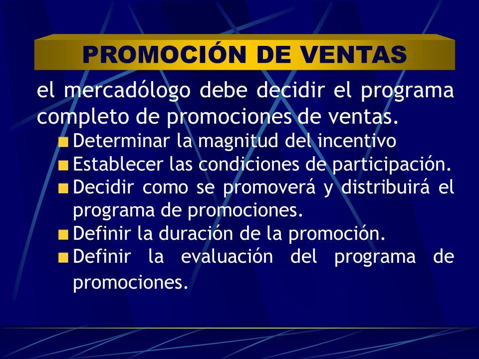 PROMOCIÓN DE VENTAS el mercadólogo debe decidir el programa completo de promociones de ventas. Determinar la magnitud del incentivo.