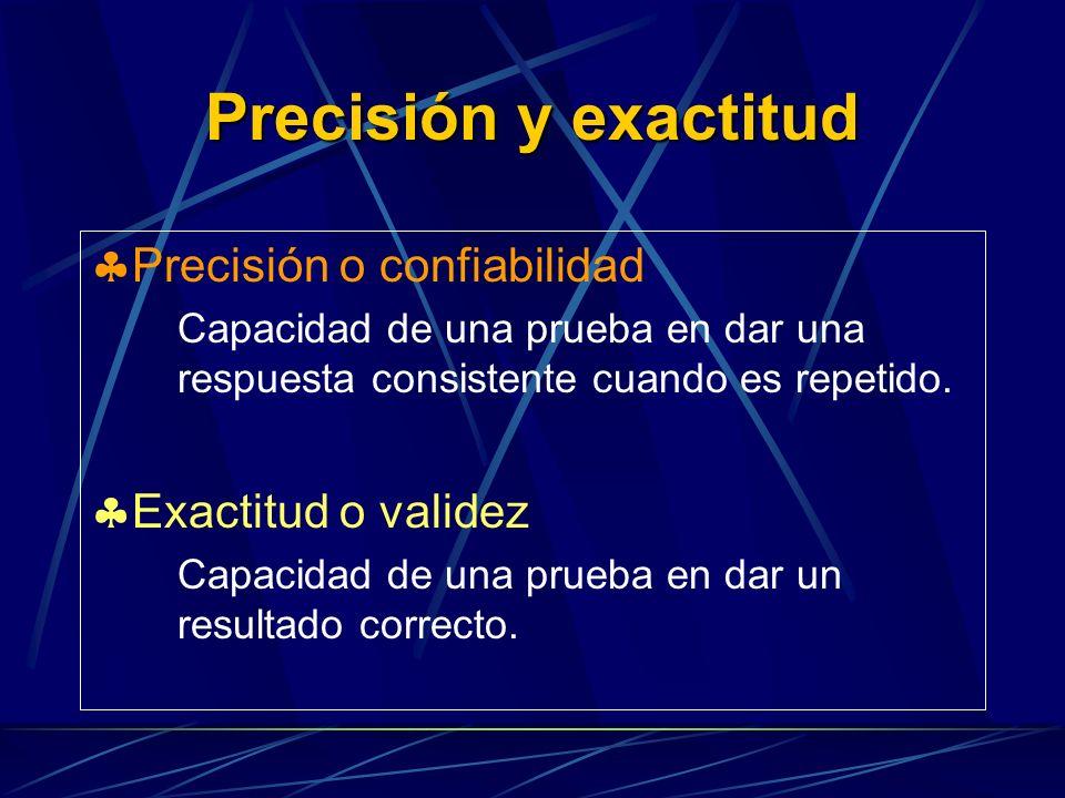 Precisión y exactitud Precisión o confiabilidad Exactitud o validez