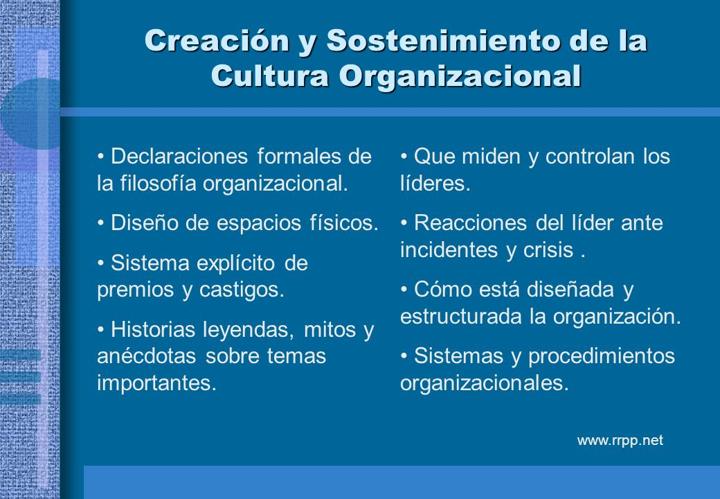 Creación y Sostenimiento de la Cultura Organizacional