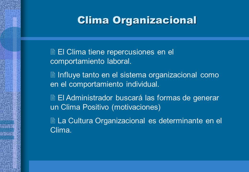 Clima Organizacional El Clima tiene repercusiones en el comportamiento laboral.