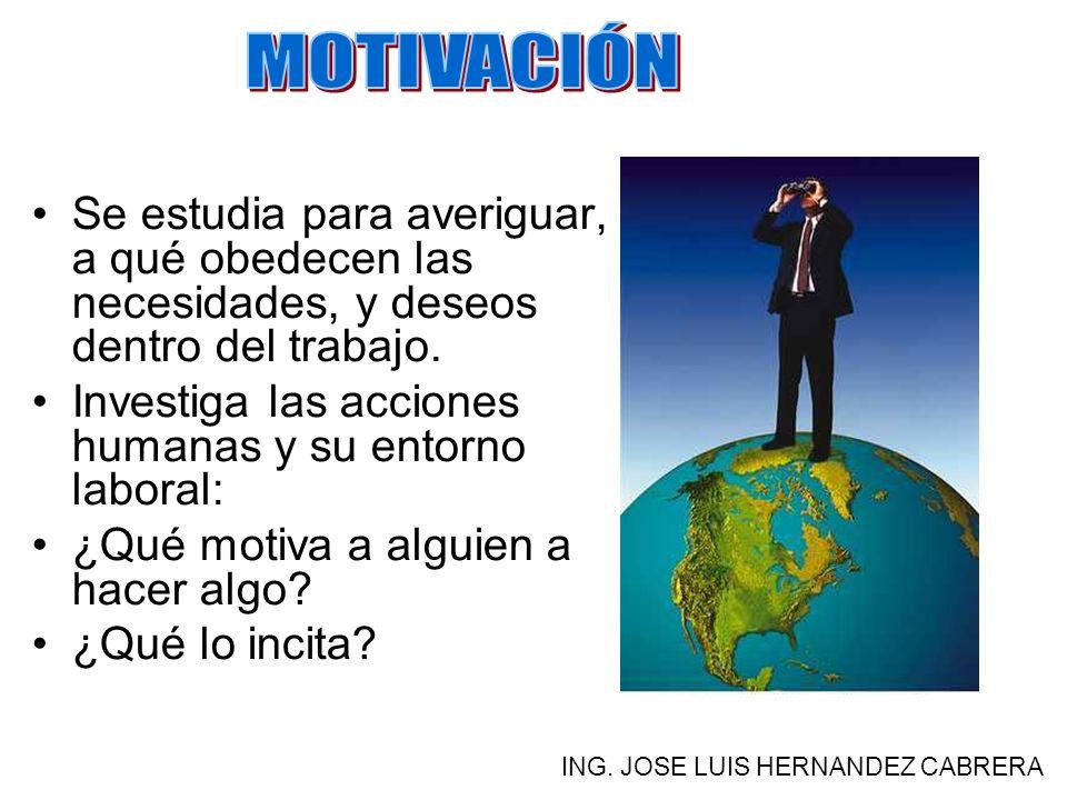 MOTIVACIÓN Se estudia para averiguar, a qué obedecen las necesidades, y deseos dentro del trabajo.