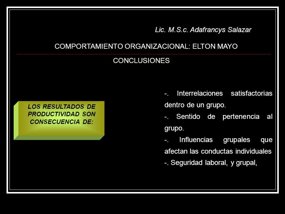 LOS RESULTADOS DE PRODUCTIVIDAD SON CONSECUENCIA DE: