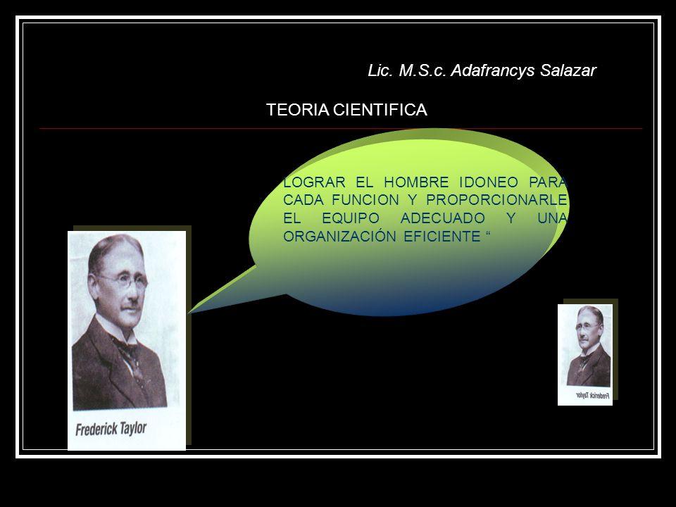 TEORIA CIENTIFICA LOGRAR EL HOMBRE IDONEO PARA CADA FUNCION Y PROPORCIONARLE EL EQUIPO ADECUADO Y UNA ORGANIZACIÓN EFICIENTE