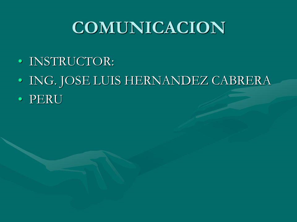 COMUNICACION INSTRUCTOR: ING. JOSE LUIS HERNANDEZ CABRERA PERU