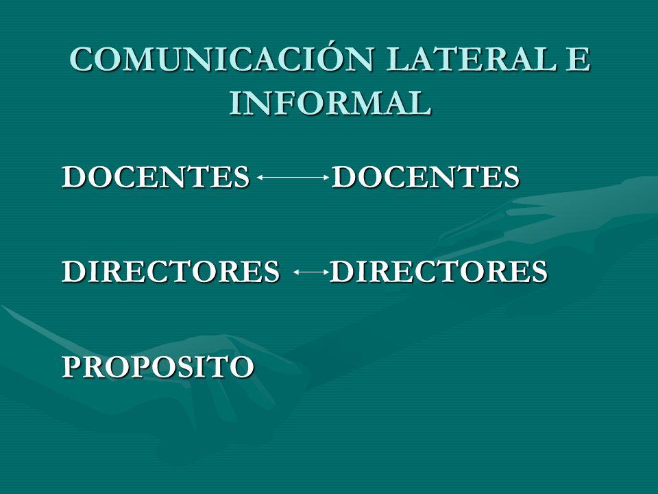 COMUNICACIÓN LATERAL E INFORMAL