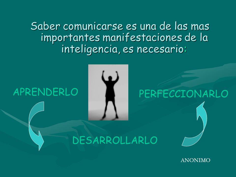 Saber comunicarse es una de las mas importantes manifestaciones de la inteligencia, es necesario: