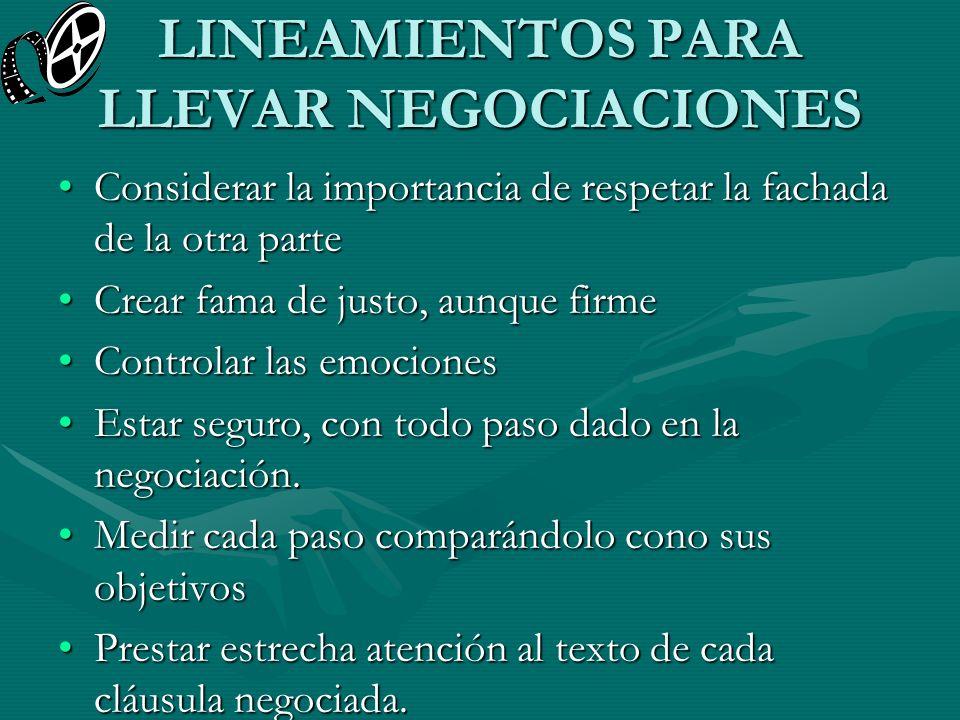 LINEAMIENTOS PARA LLEVAR NEGOCIACIONES