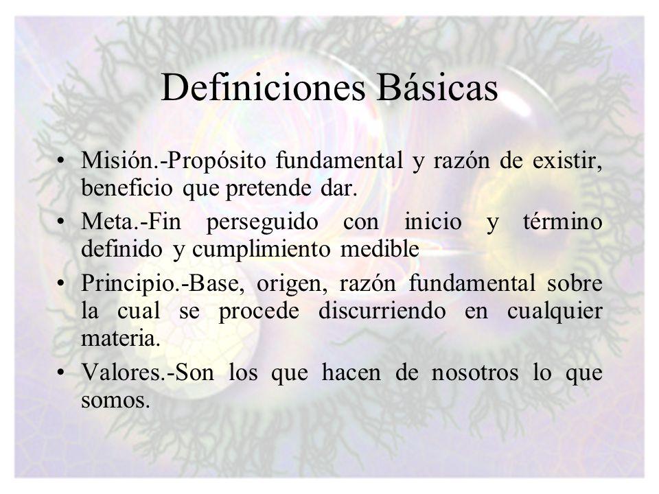Definiciones Básicas Misión.-Propósito fundamental y razón de existir, beneficio que pretende dar.