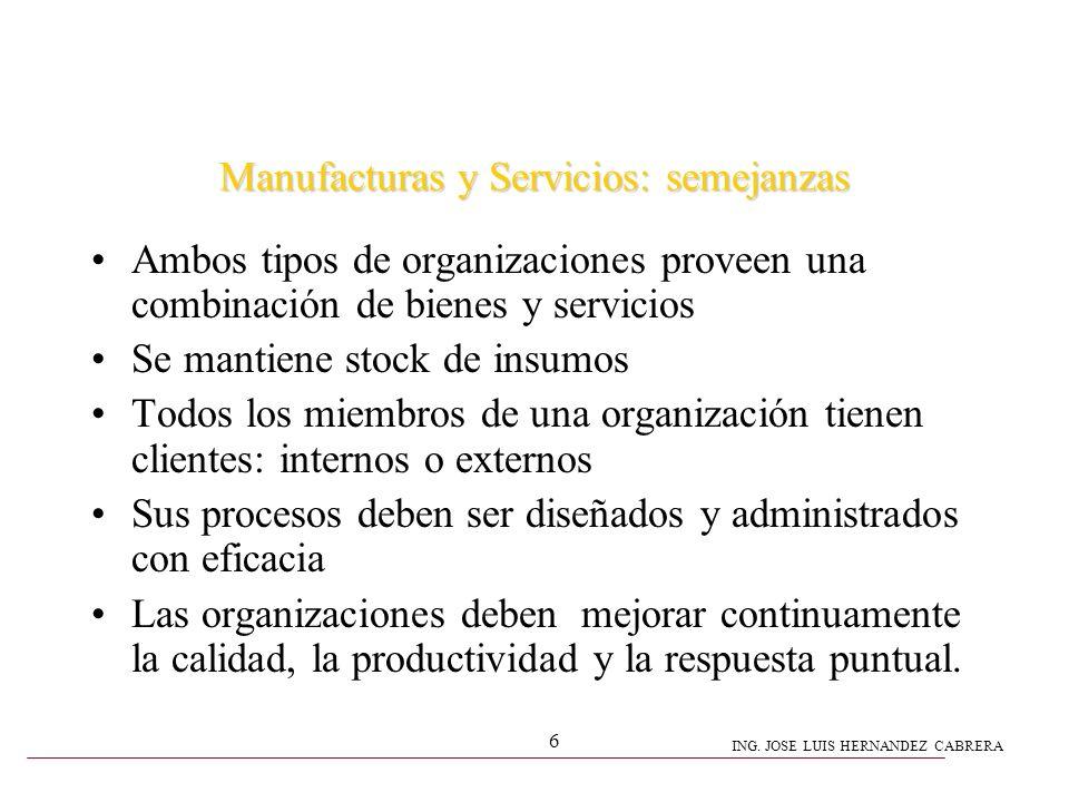 Manufacturas y Servicios: semejanzas