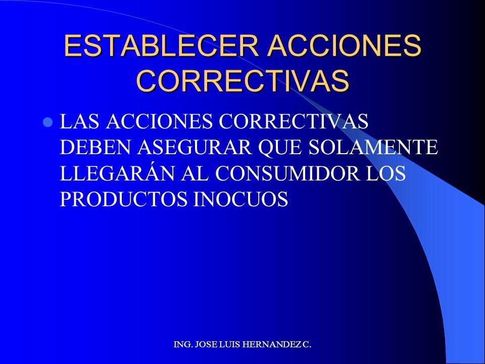 ESTABLECER ACCIONES CORRECTIVAS