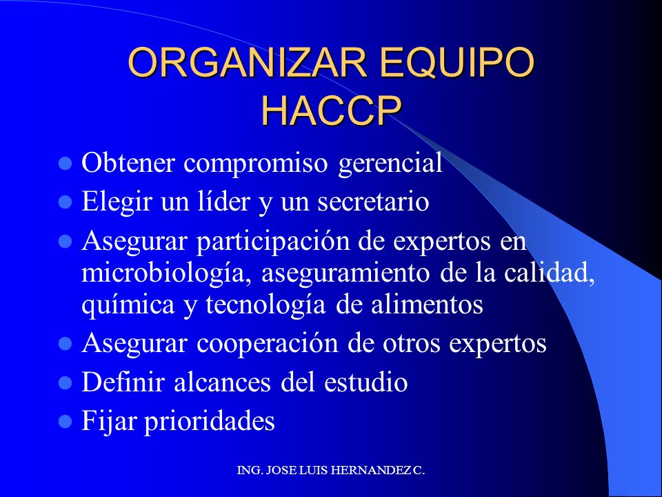 ORGANIZAR EQUIPO HACCP