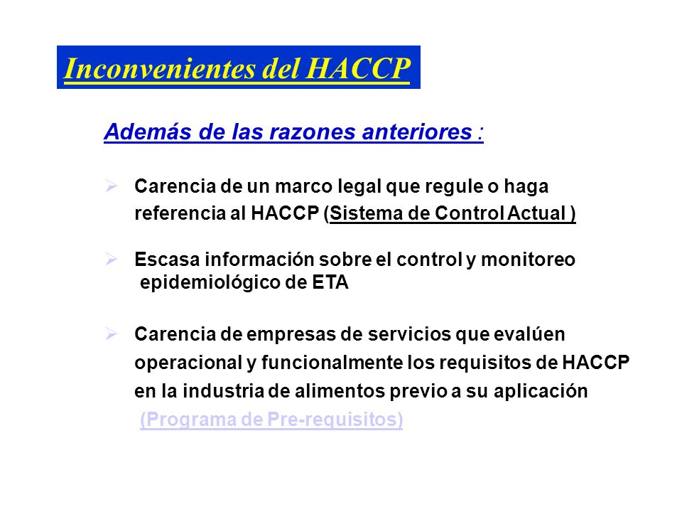 Inconvenientes del HACCP