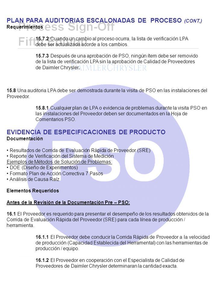 PLAN PARA AUDITORIAS ESCALONADAS DE PROCESO (CONT,)
