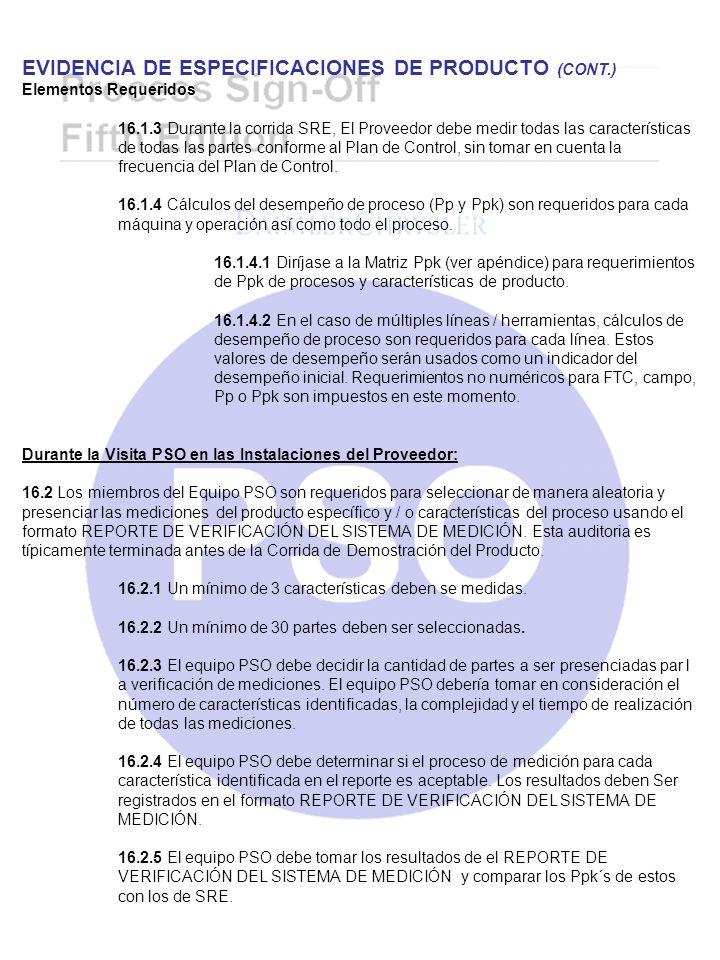 EVIDENCIA DE ESPECIFICACIONES DE PRODUCTO (CONT.)