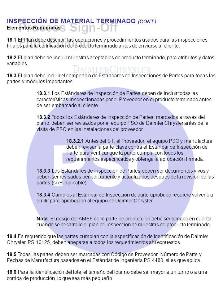 INSPECCIÓN DE MATERIAL TERMINADO (CONT.)