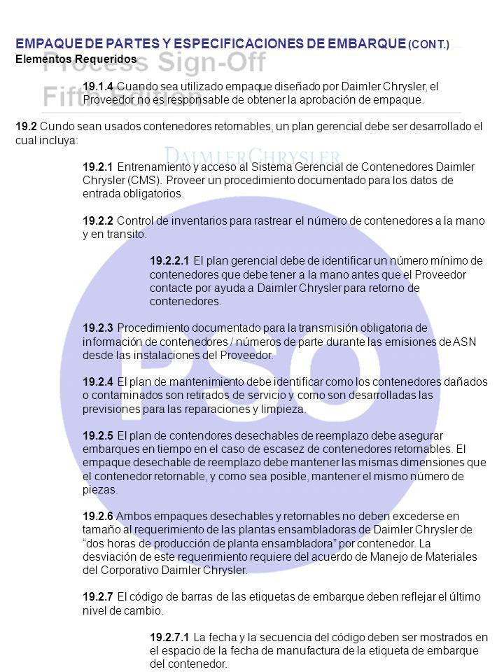 EMPAQUE DE PARTES Y ESPECIFICACIONES DE EMBARQUE (CONT.)