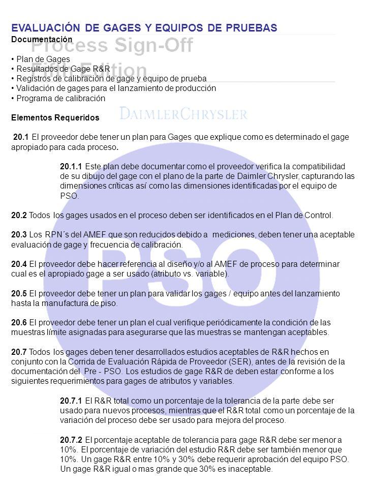 EVALUACIÓN DE GAGES Y EQUIPOS DE PRUEBAS