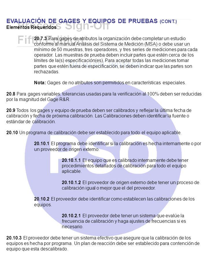 EVALUACIÓN DE GAGES Y EQUIPOS DE PRUEBAS (CONT.)