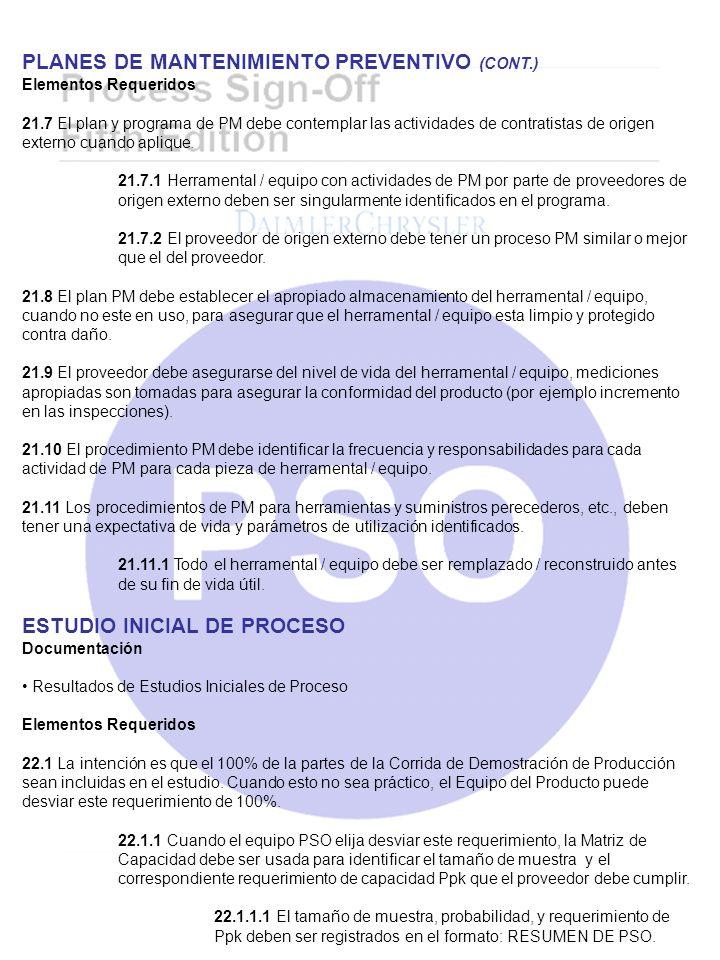 PLANES DE MANTENIMIENTO PREVENTIVO (CONT.)