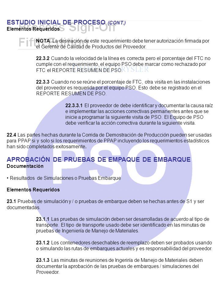 ESTUDIO INICIAL DE PROCESO (CONT.)