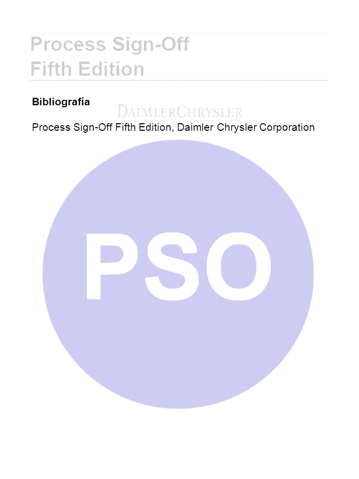 Bibliografía Process Sign-Off Fifth Edition, Daimler Chrysler Corporation