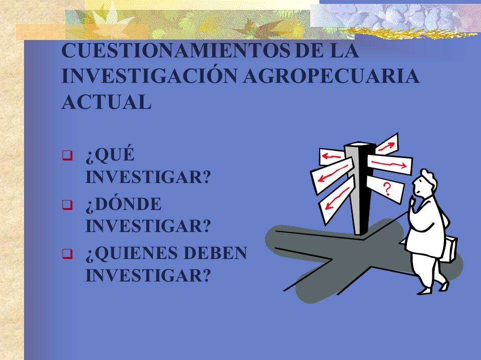 CUESTIONAMIENTOS DE LA INVESTIGACIÓN AGROPECUARIA ACTUAL