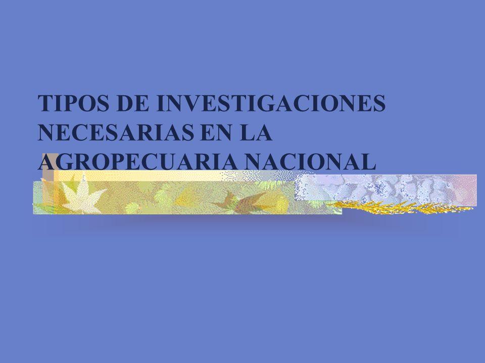 TIPOS DE INVESTIGACIONES NECESARIAS EN LA AGROPECUARIA NACIONAL
