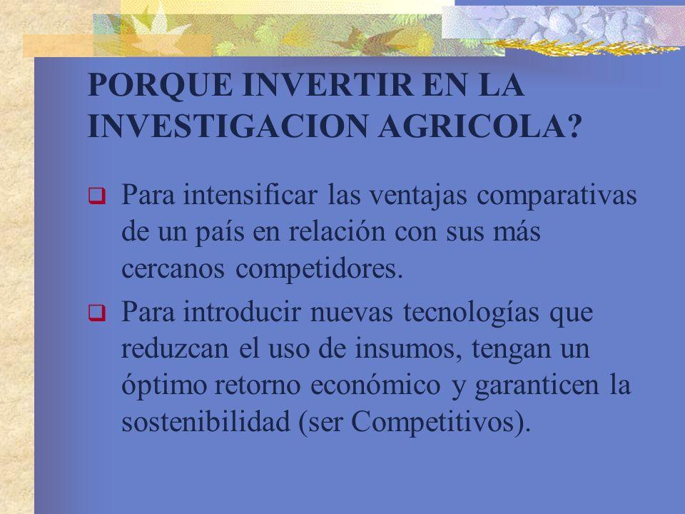 PORQUE INVERTIR EN LA INVESTIGACION AGRICOLA
