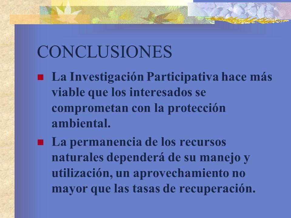 CONCLUSIONESLa Investigación Participativa hace más viable que los interesados se comprometan con la protección ambiental.