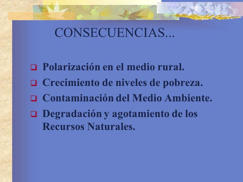 CONSECUENCIAS... Polarización en el medio rural.