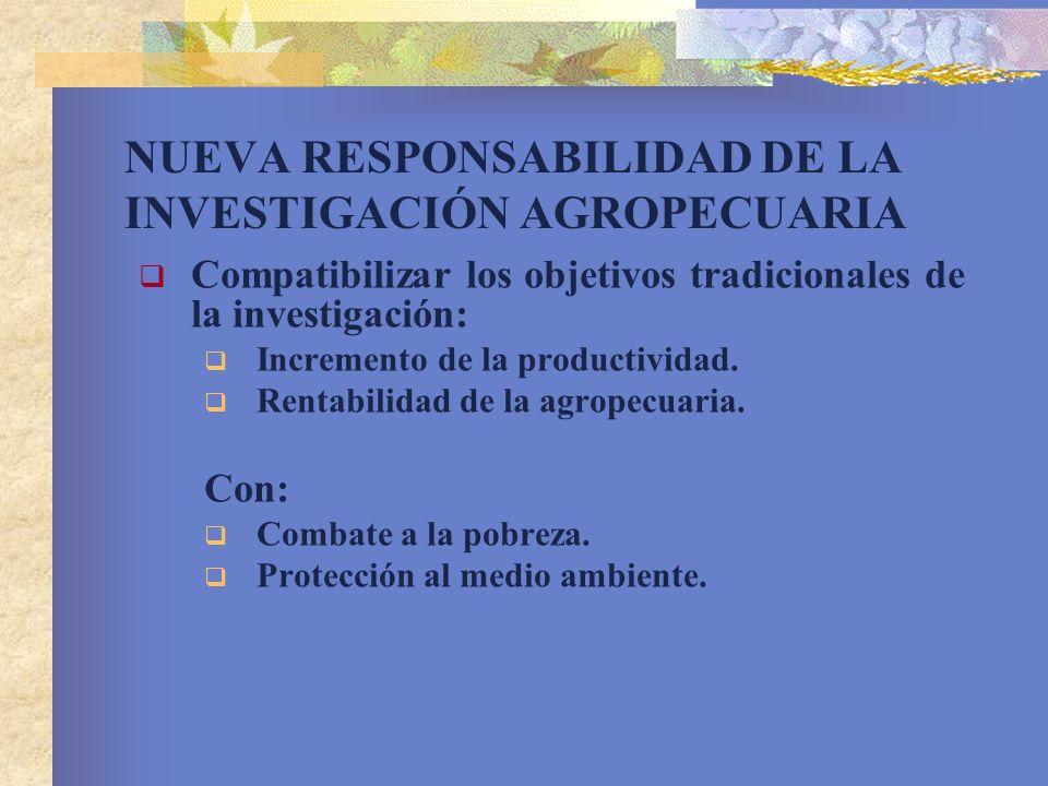 NUEVA RESPONSABILIDAD DE LA INVESTIGACIÓN AGROPECUARIA