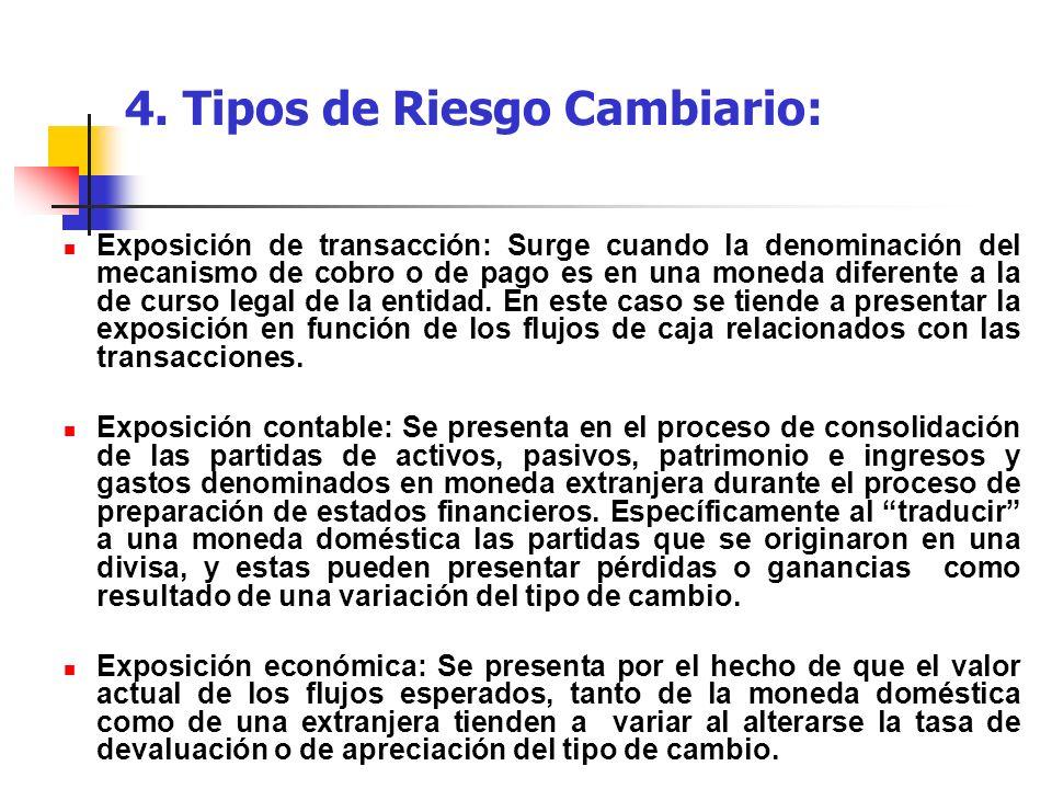 4. Tipos de Riesgo Cambiario: